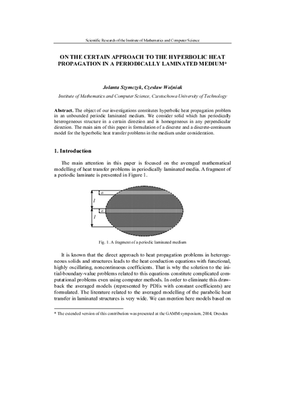 On the certain approach to the hyperbolic heat propagation in a periodically laminated medium