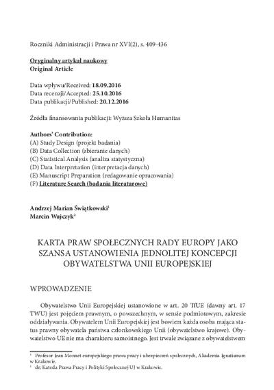 Karta Praw Społecznych Rady Europy jako szansa ustanowienia jednolitej koncepcji obywatelstwa Unii Europejskiej