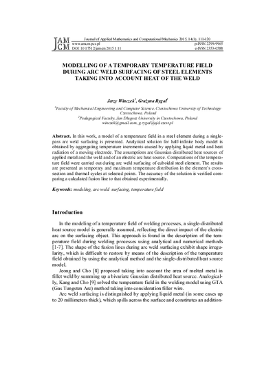 Modelling of temporary temperature field during arc weld surfacingof steel elements taking into account heat of the weld