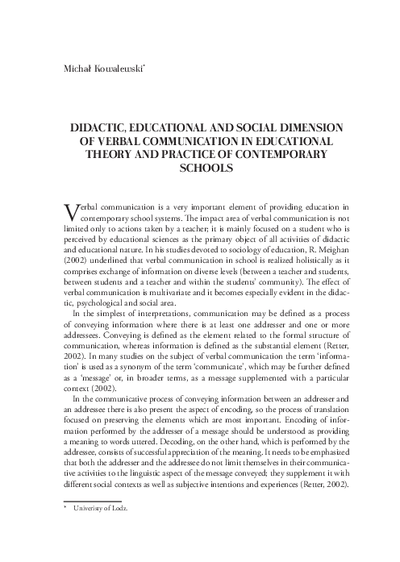 Didactic, Educational and Social Dimension of Verbal Communication in Educational Theory and Practice of Contemporary Schools