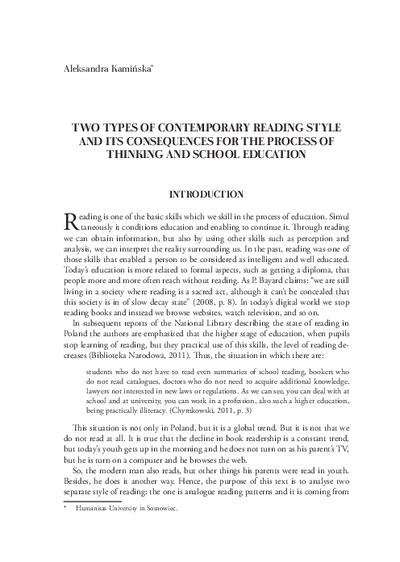 Two types of contemporary reading style and its consequences for proces of thinking and school education
