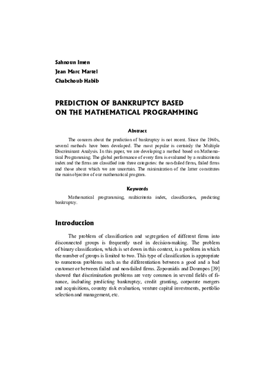 Prediction of bankruptcy based on the Mathematical Programming