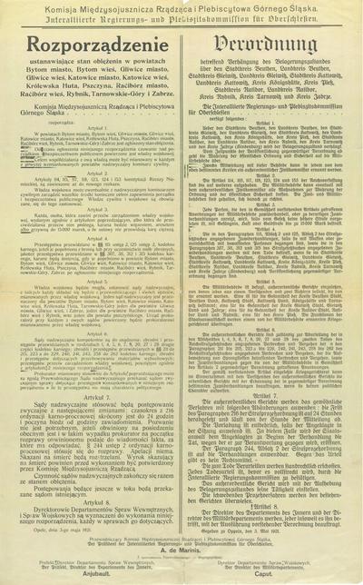 Komisja Międzysojusznicza rządząca i plebiscytowa Górnego Śląska = Interalliierte Regierungs- und Plebiszitskommission für Oberschlesien