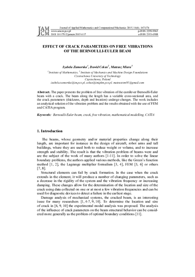Effect of crack parameters on free vibrations of the Bernoulli-Euler beam