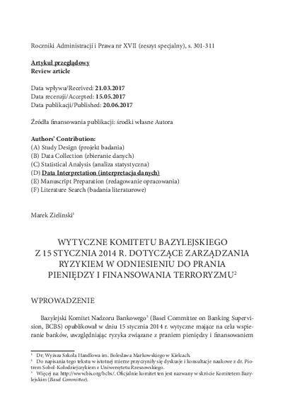 Wytyczne Komitetu Bazylejskiego z 15 stycznia 2014 r. dotyczące zarządzania ryzykiem w odniesieniu do prania pieniędzy i finansowania terroryzmu