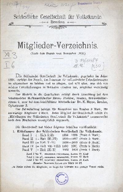 Schlesische Gesellschaft für Volkskunde Breslau. Mitglieder- Verzeichnis. (Nach dem Stande vom November 1903.)