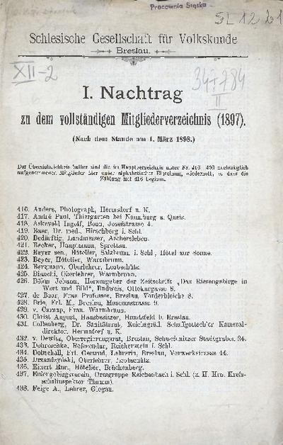 Schlesische Gesellschaft für Volkskunde Breslau. I. Nachtrag zu dem vollständigen Mitgliederverzeichnis (1897). (Nach dem Stande am 1. März 1898.)