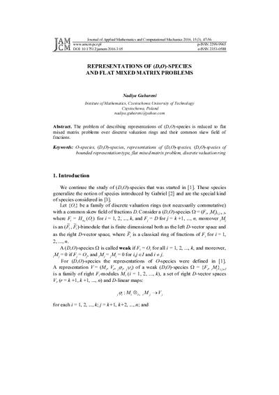 Representations of (D,O)-species and flat mixed matrix problems