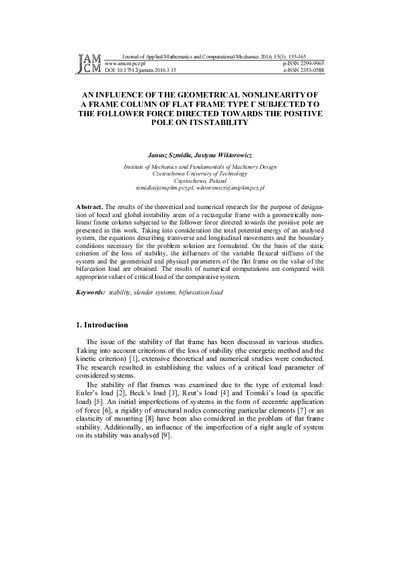 An influence of the geometrical nonlinearity of a frame column of flat frame type Γ subjected to the follower force directed towards the positive pole on its stability