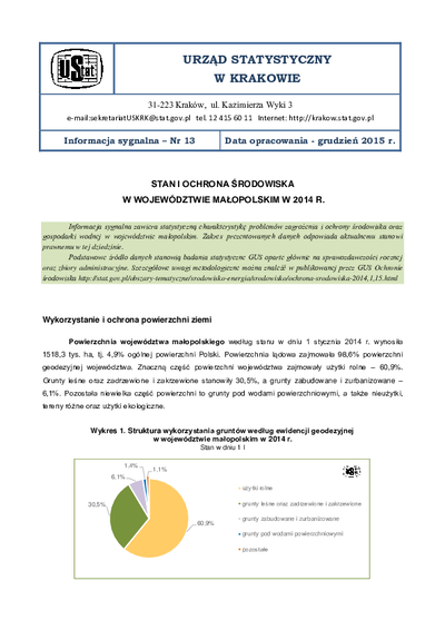 Stan i ochrona środowiska w województwie małopolskim w 2014 r.