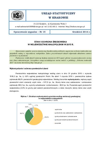 Stan i ochrona środowiska w województwie małopolskim w 2015 r.