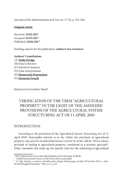 """Verification of the term """"agricultural property"""" in the light of the amended provisions of the agricultural system structuring act of 11 April 2003"""