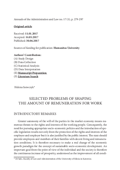 Selected problems of shaping the amount of remuneration for work