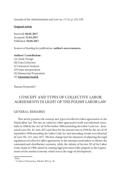 Concept and types of collective labor agreements in light of the polish labor law