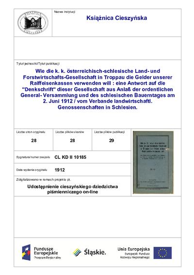 Wie die k. k. österreichisch-schlesische Land- und Forstwirtschafts-Gesellschaft in Troppau die Gelder unserer Raiffeisenkassen verwenden will