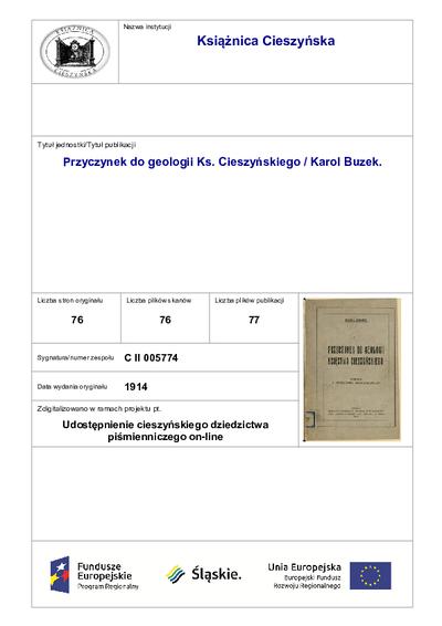 Przyczynek do geologii Ks. Cieszyńskiego