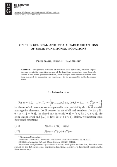 On the General and Measurable Solutions of some Functional Equations