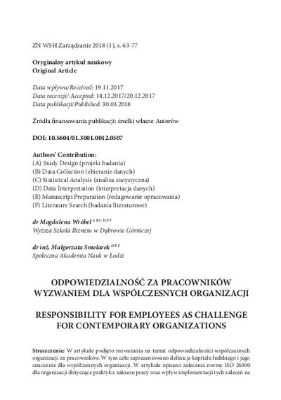 Odpowiedzialność za pracowników wyzwaniem dla współczesnych organizacji
