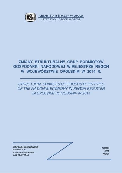 Zmiany strukturalne grup podmiotów gospodarki narodowej w rejestrze REGON w województwie opolskim w 2014 r.