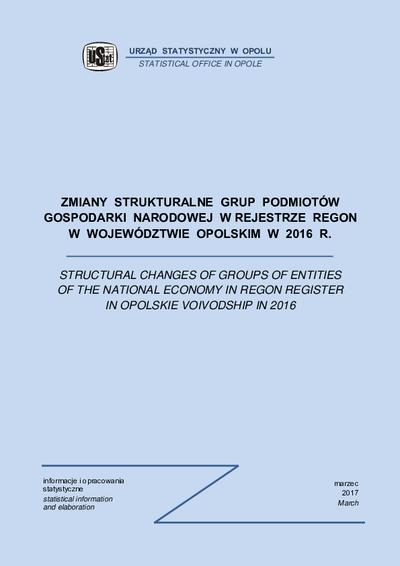 Zmiany strukturalne grup podmiotów gospodarki narodowej w rejestrze REGON w województwie opolskim w 2016 r.