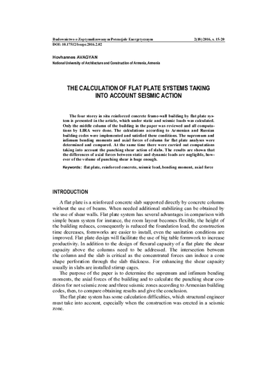 The calculation of flat plate systems taking into account seismic action