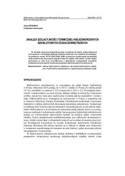Analiza izolacyjności termicznej niejednorodnych szkieletowych ścian zewnętrznych