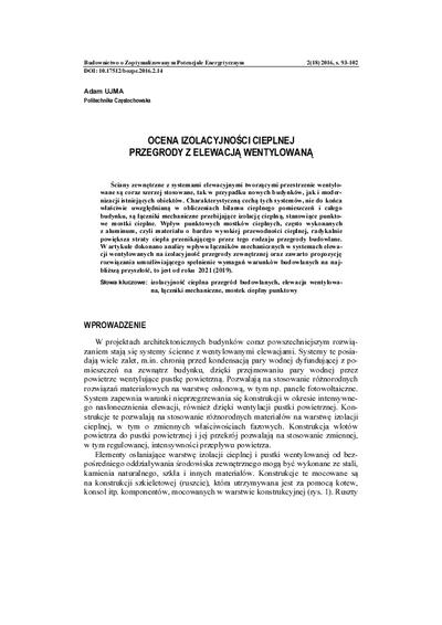 Ocena izolacyjności cieplnej przegrody z elewacją wentylowaną