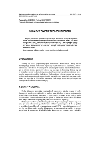 Silikaty w świetle ekologii i ekonomii