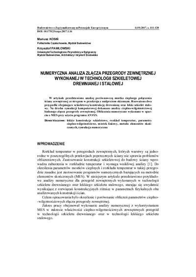 Numeryczna analiza złącza przegrody zewnętrznej wykonanejw technologii szkieletowej