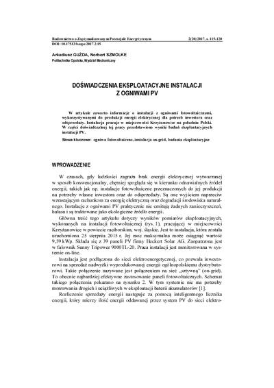 Doświadczenia eksploatacyjne instalacji z ogniwami PV