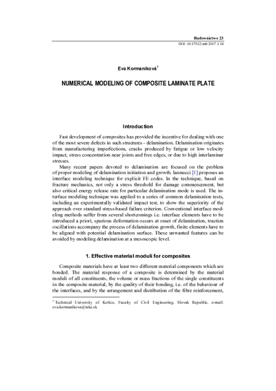 Numerical modeling of composite laminate plate