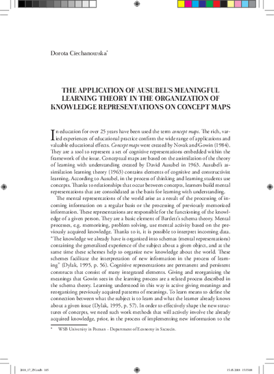 The application of Ausubel's meaningful learning theory in the organization of knowledge representations on concept maps