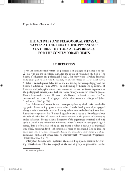 The activity and pedagogical views of women at the turn of the 19th and 20th centuries – historical experiences for the contemporary times