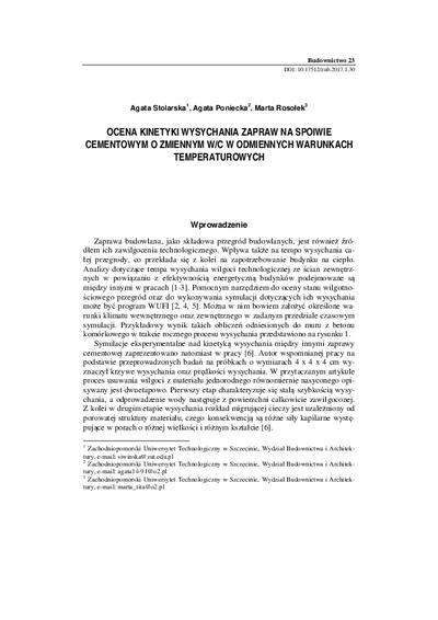 Ocena kinetyki wysychania zapraw na spoiwie cementowym o zmiennym w/c w odmiennych warunkach temperaturowych