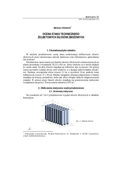 Ocena stanu technicznego żelbetowych silosów zbożowych