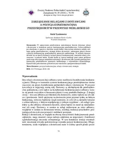 Zarządzanie relacjami z dostawcami a pozycja konkurencyjna przedsiębiorstw przemysłu meblarskiego