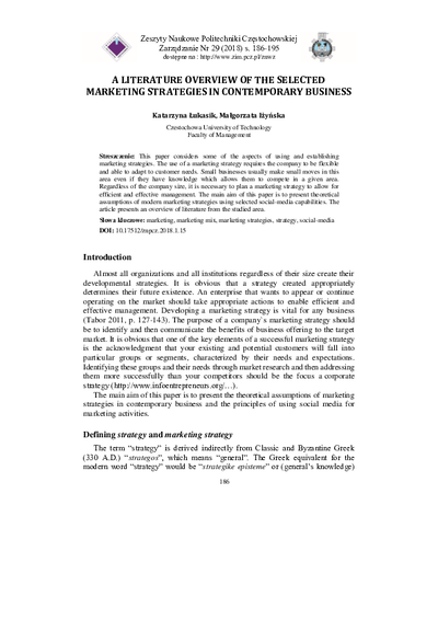 A Literature Overview of the Selected Marketing Strategies in Contemporary Business