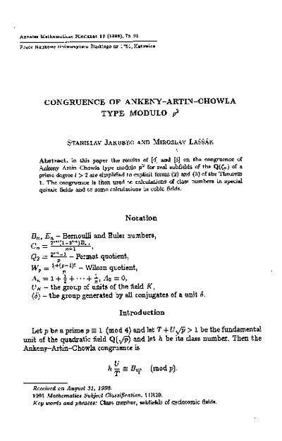 Congruence of Ankeny-Artin-Chowla type modulo p2