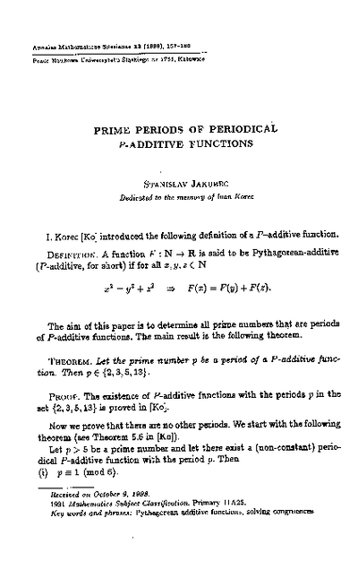 Prime periods of periodical p-additive functions