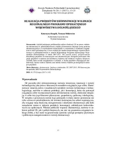 Realizacja projektów ekoinnowacji w ramach regionalnego programu operacyjnego województwa dolnośląskiego