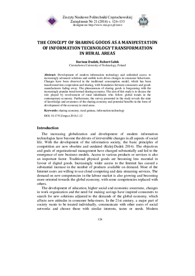The Concept of Sharing Goods as a Manifestation of Information Technology Transformation in Rural Areas