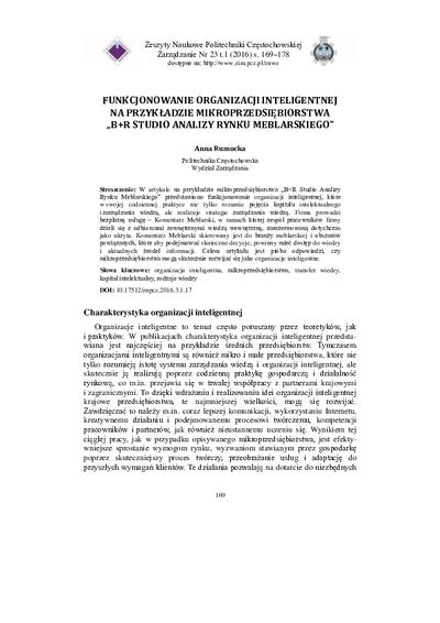 """Funkcjonowanie organizacji inteligentnej na przykładzie mikroprzedsiębiorstwa """"B+R Studio Analizy Rynku Meblarskiego"""""""