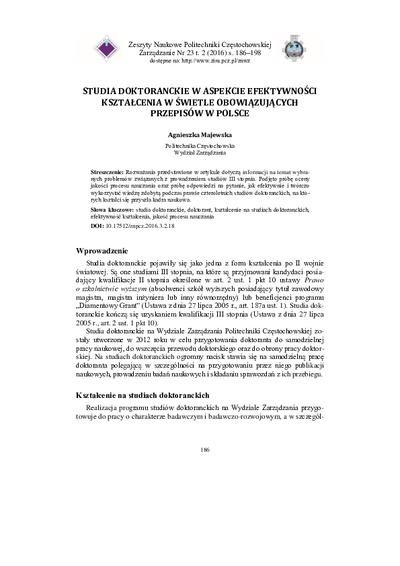 Studia doktoranckie w aspekcie efektywności kształcenia w świetle obowiązujących przepisów w Polsce