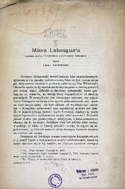 Miara Lebesgue'a. Logiczna analiza i konstrukcya pojęcia miary Lebesgue'a