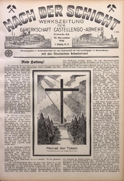 Nach der Schicht, 1935, Jg. 5, Nr. 21