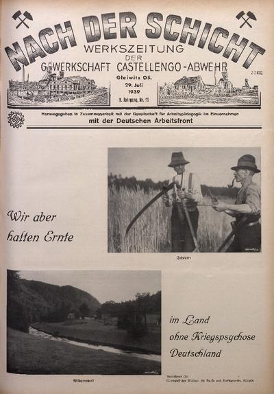 Nach der Schicht, 1939, Jg. 9, Nr. 15