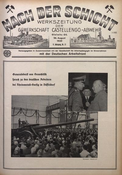 Nach der Schicht, 1939, Jg. 9, Nr. 17