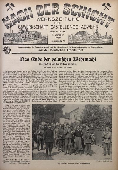 Nach der Schicht, 1939, Jg. 9, Nr. 20