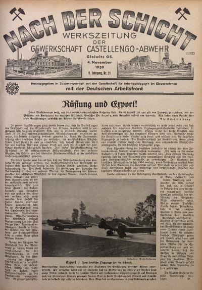 Nach der Schicht, 1939, Jg. 9, Nr. 21