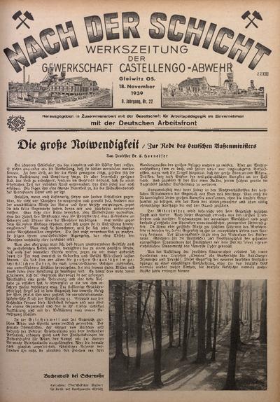 Nach der Schicht, 1939, Jg. 9, Nr. 22